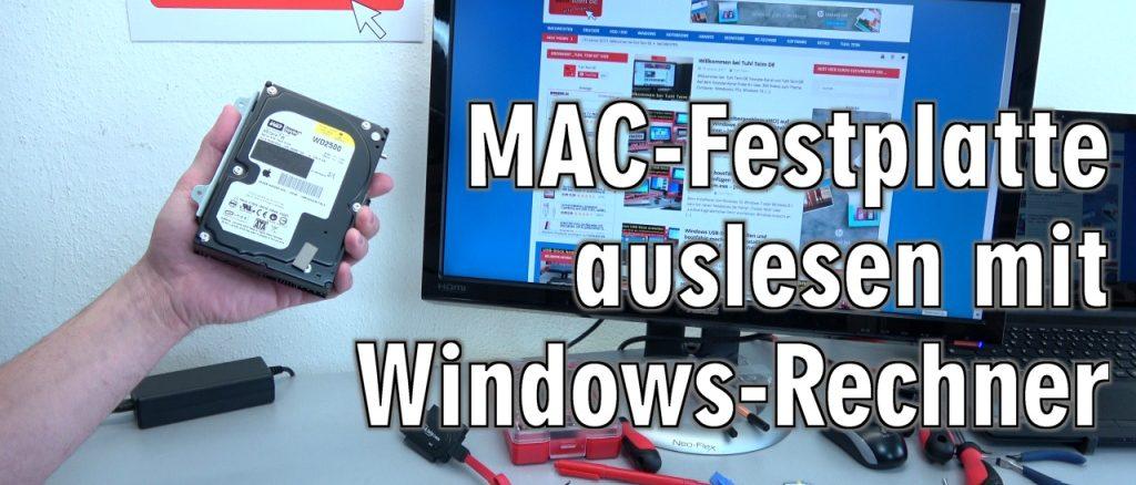 Apple Mac / iMac MacBook HFS+ Festplatte auslesen mit Windows-PC