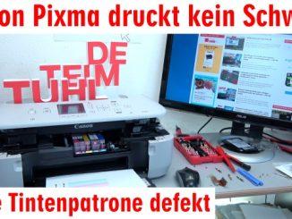 Canon Pixma druckt kein Schwarz mehr trotz voller Patrone PGBK neue Patrone defekt