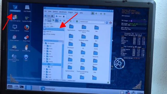 Apple Mac / iMac MacBook HFS+ Festplatte auslesen mit Windows-PC - File Manager wurde gestartet