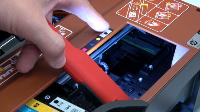 Hewlett-Packard Drucker - Patronenwagen frei geben lösen - HP Papierstau entfernen - Druckerinnenraum und Purge Unit prüfen