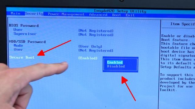 Notebook UEFI-Bios CSM Windows 10 SecureBoot einstellen und von USB oder DVD booten - ins Bios mit Windows 10 - im Bios SecureBoot ausschalten