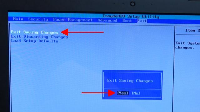 Notebook UEFI-Bios CSM Windows 10 SecureBoot einstellen und von USB oder DVD booten - ins Bios mit Windows 10 -Exit Saving Changes- mit -Yes- bestätigen