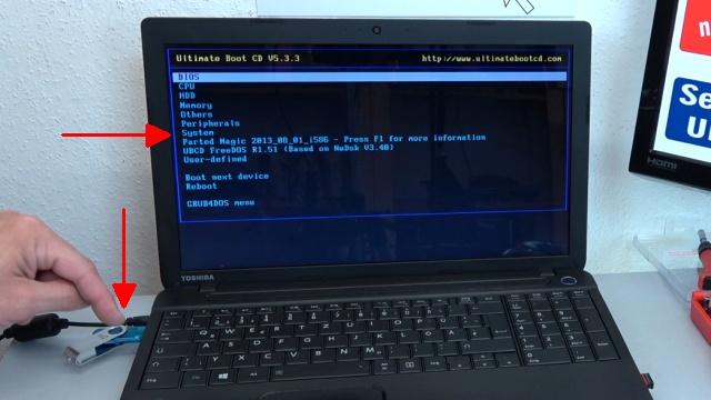 Notebook UEFI-Bios CSM Windows 10 SecureBoot einstellen und von USB oder DVD booten - ins Bios mit Windows 10 - Notebook bootet jetzt von CD oder USB-Stick