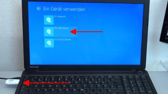 Notebook UEFI-Bios CSM Windows 10 SecureBoot einstellen und von USB oder DVD booten - ins Bios mit Windows 10 -Ein Gerät verwenden- bootet nur EFI-DVDs und EFI-USB-Sticks