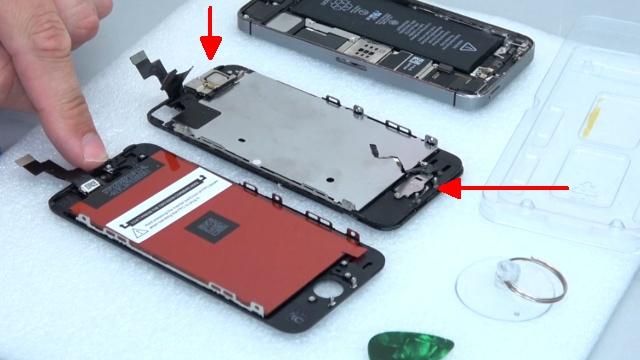 iPhone 5s Display Reparatur + Home Button einfach tauschen - Home Button , Kamera und Hörer müssen umgebaut werden
