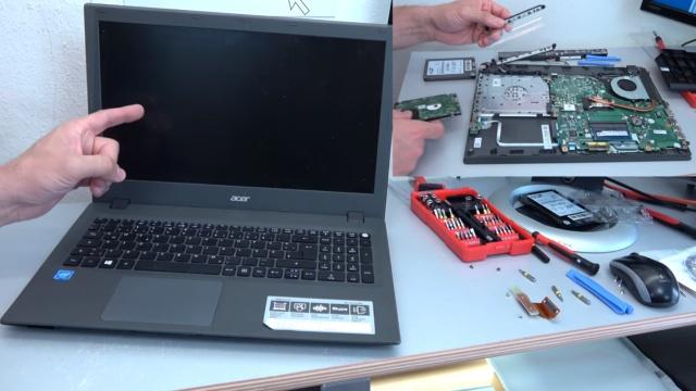 Acer Aspire E15 Laptop Notebook öffnen - HDD SSD Akku Batterie RAM Lüfter wechseln - Vorsicht: Akku ist intern verbaut