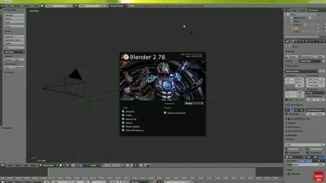 Blender 01 Anleitung - Tuhl Teim DE Intro erstellen mit Video, transparenten PNGs, 3D-Schrift und Kamerafahrt - Blender 2.78