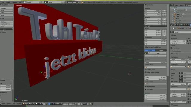 Blender 01 Anleitung - Tuhl Teim DE Intro erstellen mit Video, transparenten PNGs, 3D-Schrift und Kamerafahrt - zweites Plane mit 3D-Schrift