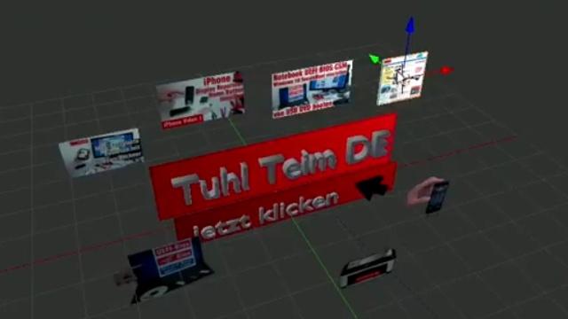 Blender 01 Anleitung - Tuhl Teim DE Intro erstellen mit Video, transparenten PNGs, 3D-Schrift und Kamerafahrt - Videos in die Szene eingefügt