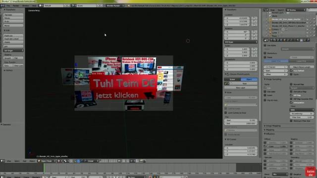 Blender 01 Anleitung - Tuhl Teim DE Intro erstellen mit Video, transparenten PNGs, 3D-Schrift und Kamerafahrt - Kameravorschau der fertigen Szene