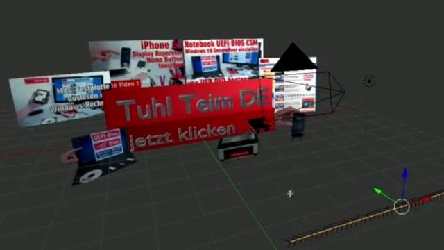 Blender 01 Anleitung - Tuhl Teim DE Intro erstellen mit Video, transparenten PNGs, 3D-Schrift und Kamerafahrt - Kameraeinstellungen und Bewegung
