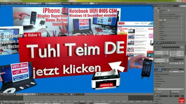 Blender 01 Anleitung - Tuhl Teim DE Intro erstellen mit Video, transparenten PNGs, 3D-Schrift und Kamerafahrt - Szene wird gerendert