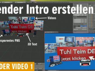 Blender 01 Anleitung - Tuhl Teim DE Intro erstellen mit Video, transparenten PNGs, 3D-Schrift und Kamerafahrt