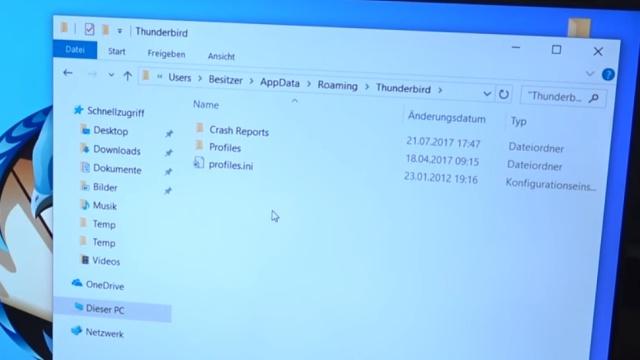 Thunderbird Profil kopieren - Backup auf USB-Stick - Emails und Konto sichern - Thunderbird-Profil-Ordner finden und öffnen