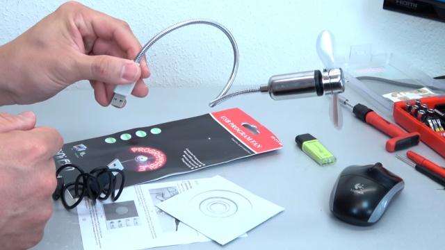 USB Ventilator LED - programmierbar - Lüfter, USB-Kabel und CD