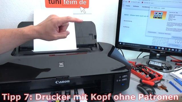 Canon Pixma B200 Fehler - 10 Tipps zur Fehlerbehebung | Error Supportcode 1660 1200 - Drucker mit Druckkopf ohne Patronen betreiben