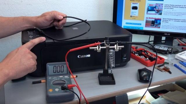 Canon Pixma Drucker: 200V Restspannung am herausgezogenen Netzstecker - Testaufbau