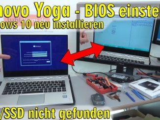 Lenovo Yoga Notebook UEFI Bios einstellen - Windows 10 installieren von USB-Stick