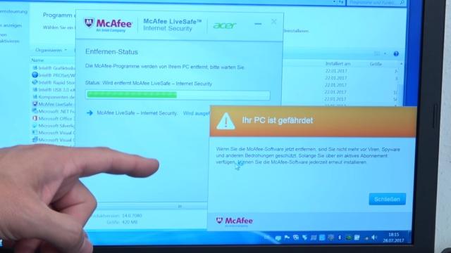 """Neues Notebook Bloatware entfernen - Windows 10 + 7 - schneller machen - McAfee deinstallieren trotz """"Warnung"""""""