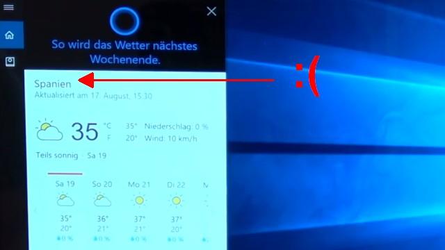 """Windows 10 Installation von USB-Stick mit Sprachsteuerung + Cortana """"Intelligenz""""-Test - fast gelungener Sprachbefehl nach dem aktuellen Wetter"""