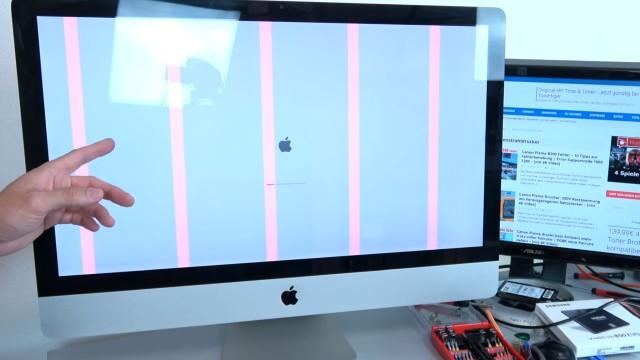 Apple iMac Pro rote Streifen im Display - startet nicht mehr | Startdisplay | reboot - rote Streifen werden beim Einschalten angezeigt