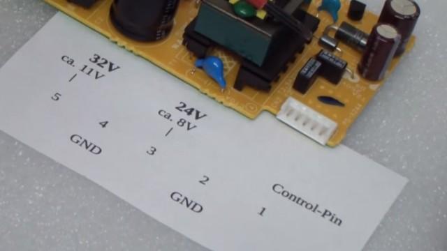 Canon Pixma Drucker lässt sich nicht mehr einschalten - Pinbelegung eines Canon Pixma Netzteils
