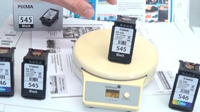 Canon Pixma druckt kein Schwarz - Patronen prüfen / wiegen - leer | voll | defekt - aktuelle Tintenpatrone wiegt 29g