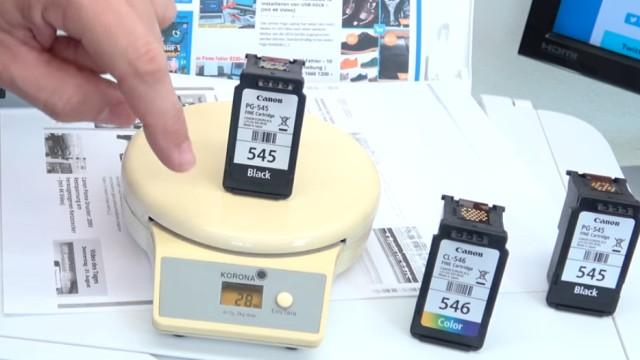 Canon Pixma druckt kein Schwarz - Patronen prüfen / wiegen - leer | voll | defekt - ganz leere Tintenpatrone wiegt 28g