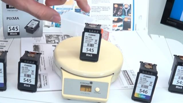Canon Pixma druckt kein Schwarz - Patronen prüfen / wiegen - leer | voll | defekt - neue volle Tintenpatrone wiegt 37g