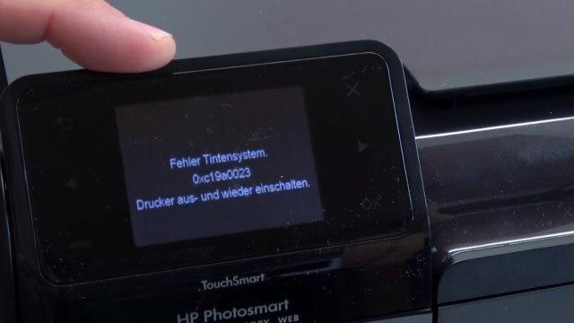Hewlett-Packard Drucker Fehler Tintensystem - 0xc19a - aus und wieder einschalten - OfficeJet DeskJet Photosmart Envy - Fehler im Display