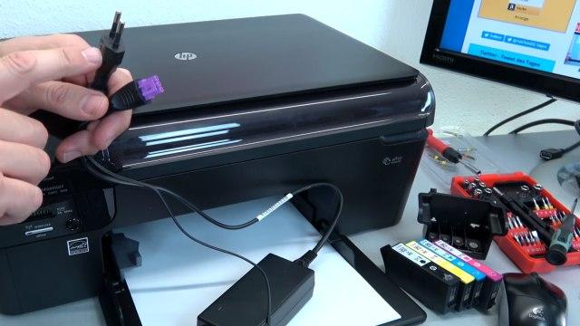 Hewlett-Packard Drucker Fehler Tintensystem - 0xc19a - aus und wieder einschalten - OfficeJet DeskJet Photosmart Envy - Drucker über Netzteil zurücksetzen - RESET