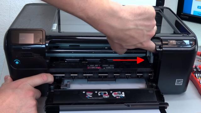 HP Drucker Patronenwagen blockiert - Stau am Schlitten beseitigen - Patronenwagen hängt rechts fest