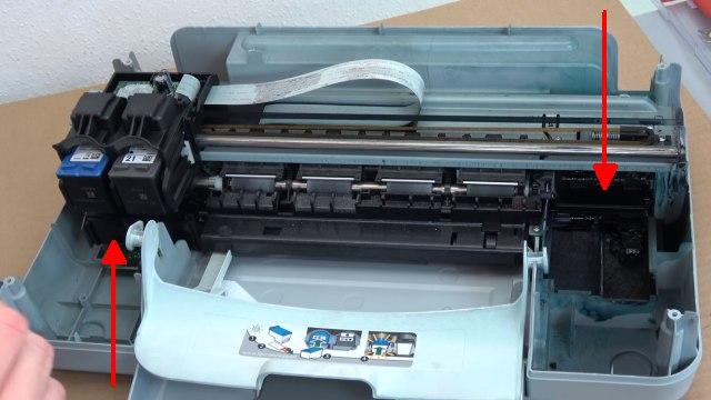 HP Drucker Tintenauffangbehälter voll - Tinte läuft unten aus dem Drucker - Druckerinnenraum ist komplett mit Tinte verschmutzt