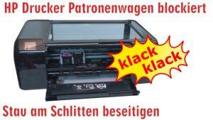 HP Drucker Patronenwagen blockiert - Stau am Schlitten beseitigen