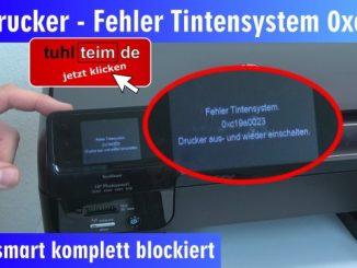 Hewlett-Packard Drucker Fehler Tintensystem - 0xc19a - aus und wieder einschalten - OfficeJet DeskJet Photosmart Envy
