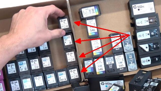 Leere Tintenpatronen verkaufen - Bargeld für Leergut - Druckerpatronen HP Canon Epson Brother - vier aktuelle Hewlett-Packard Patronen ohne Wert