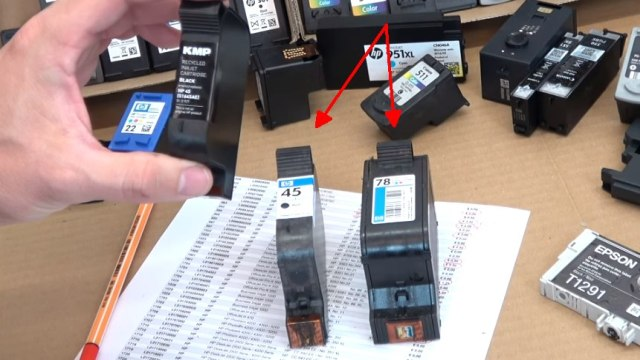 """Leere Tintenpatronen verkaufen - Bargeld für Leergut - Druckerpatronen HP Canon Epson Brother - zwei """"alte"""" Hewlett-Packard Druckpatronen mit Wert"""