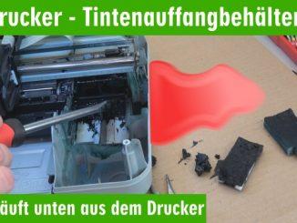 HP Drucker Tintenauffangbehälter voll - Tinte läuft unten aus dem Drucker