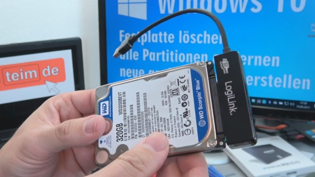 Windows 10 - Festplatte löschen - alle geschützten Partitionen entfernen ohne Extrasoftware - Festplatte/SSD mit SATA-Adapter an USB anschließen
