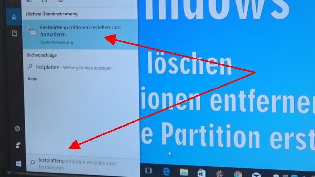 Windows 10 - Festplatte löschen - alle geschützten Partitionen entfernen ohne Extrasoftware - mit dem Suchfeld die Datenträgerverwaltung starten
