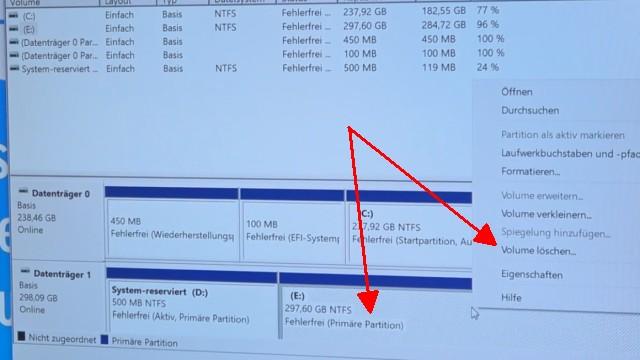 """Windows 10 - Festplatte löschen - alle geschützten Partitionen entfernen ohne Extrasoftware - normale Partitionen mit """"Volume löschen"""" löschen"""