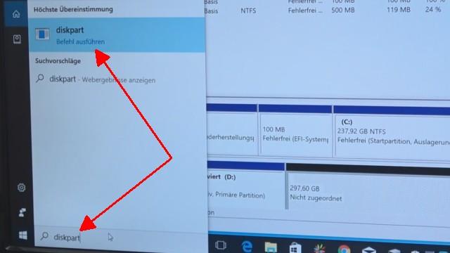 Windows 10 - Festplatte löschen - alle geschützten Partitionen entfernen ohne Extrasoftware - startet diskpart über das Suchfeld