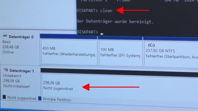 """Windows 10 - Festplatte löschen - alle geschützten Partitionen entfernen ohne Extrasoftware - mit """"clean"""" wird die gesamte Festplatte/SSD gelöscht"""