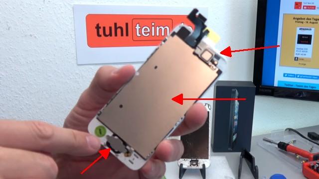 iPhone Display Reparatur in 10 Minuten - Kaufen Austausch Wechsel - dieses Ersatzdisplay hat einen Home-Button, eine Kamera und die Metallplatte bereits integriert