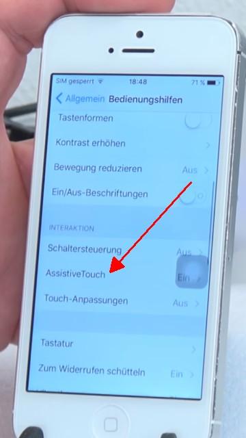 """iPhone Knöpfe funktionieren nicht - Home Button + Lautstärke + Ein-Schalter per Software - auf """"Assistive Touch"""" tippen"""