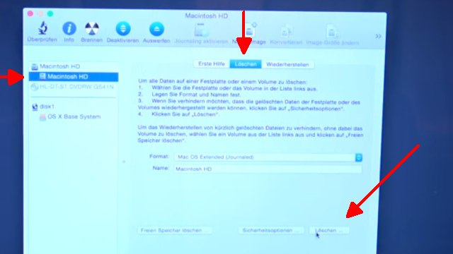 Apple MacBook Pro auf Werkseinstellung zurücksetzen - Festplatte löschen - OSX neu installieren - diese drei Optionen löschen die Festplatte / SSD