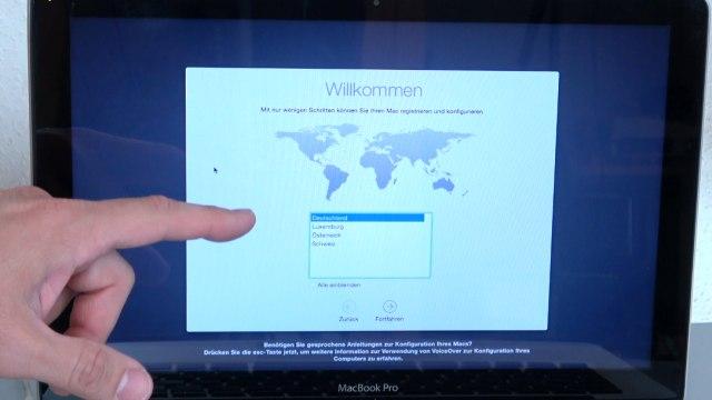 Apple MacBook Pro auf Werkseinstellung zurücksetzen - Festplatte löschen - OSX neu installieren - Land aussuchen