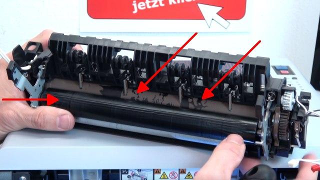 Brother Laserdrucker druckt Schatten Streifen - Ausdruck erscheint doppelt Grauschleier - ausgebautes Heizelement