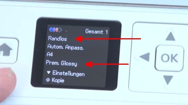 Epson Drucker druckt extrem langsam und verbraucht zu viel Tinte - Druckerdisplay - Einstellungen Randlos und Premium Glossy