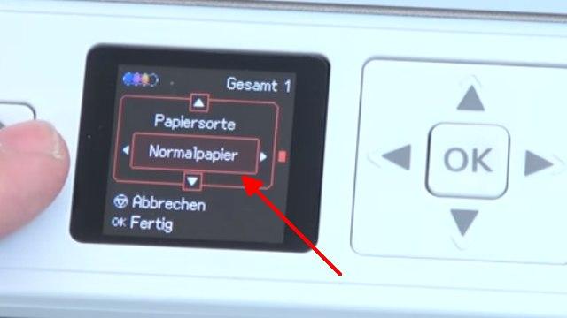 Epson Drucker druckt extrem langsam und verbraucht zu viel Tinte - Druckerdisplay - Einstellungen auf Normalpapier